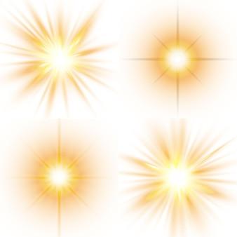 Insieme di stelle luminose. luce solare traslucida design speciale effetto luce su uno sfondo bianco.