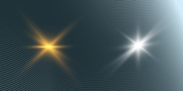 Set di stelle luminose su uno sfondo trasparente