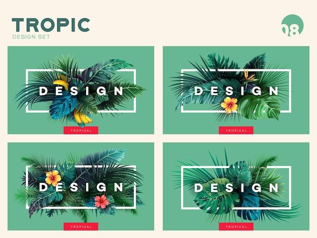 Set di sfondo tropicale luminoso con piante della giungla motivo esotico con foglie tropicali vector