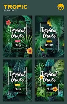 Set di sfondo tropicale luminoso con piante della giungla. illustrazione