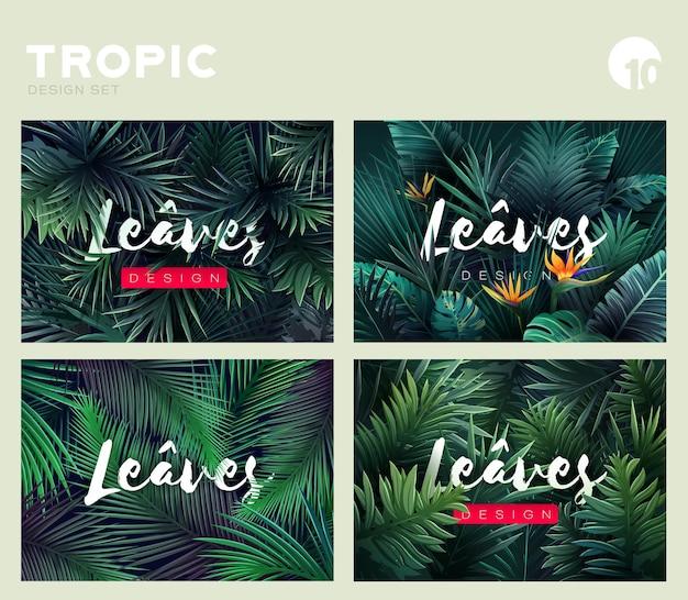 Set di motivi esotici tropicali luminosi con foglie tropicali illustrazione vettoriale