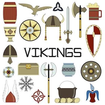 Set di illustrazioni vettoriali luminose per il design della vita di viking.