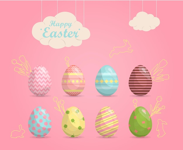 Un set di uova di pasqua dipinte dai colori vivaci illustrazione vettoriale felice vendita di pasqua design piatto