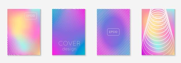 Impostare l'opuscolo. olografico. moltiplica schermo mobile, cartella, app web, layout di pagina. imposta la brochure come copertina minimalista alla moda. elemento geometrico di linea.