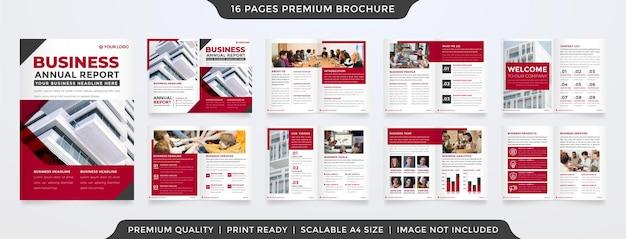 Set di design modello di brochure con stile moderno e layout minimalista