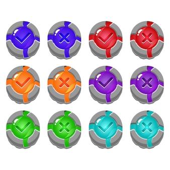 Set di pulsante dell'interfaccia utente di gioco di gelatina di pietra rotto sì e nessun segno di spunta