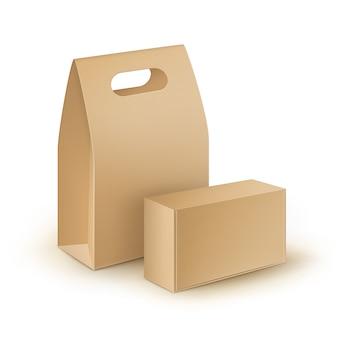 Set di scatole da pranzo con manico in bianco marrone rettangolo di cartone da asporto per sandwich