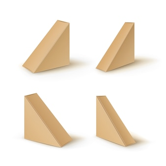 Set di scatole da asporto triangolo di cartone vuoto marrone che imballano per il panino