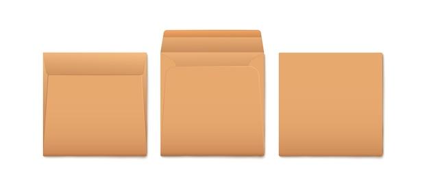 Set di buste di carta marrone per documento di posta o messaggio vuoto mockup 3d realistico isolato su sfondo bianco. elemento di cancelleria aperto e piegato.
