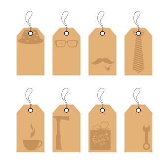 Set di design di etichetta di etichetta di carta marrone