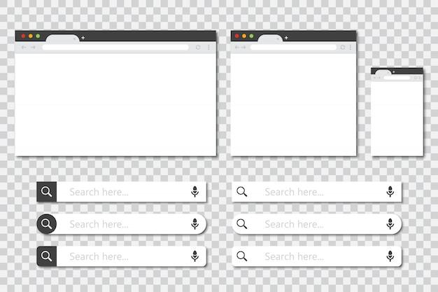 Set di finestre del browser in diverse dimensioni e raccolta della barra di ricerca in un design piatto con ombra. mockup della finestra del browser