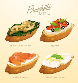 Set di bruschette. delizioso antipasto italiano