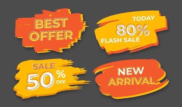 Set di pennello blob sconto vendita tag banner. imposta tag di sconto promozionale.
