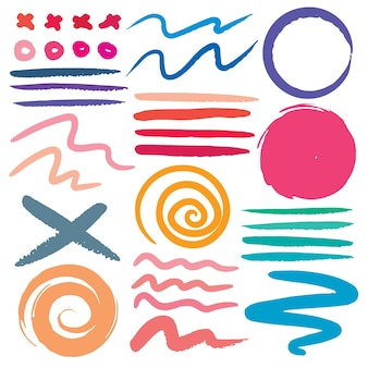 Set di tratto di pennello, pennellate di inchiostro colorato grunge.