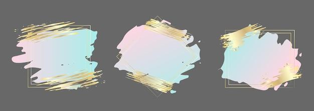 Set di pennellate in cornice dorata modello di progettazione per volantino e logo di copertina della carta banner