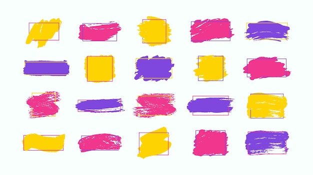 Set di pennellate elementi di design grunge vernice dorata inchiostro pennelli linee grungy sporco artistico scatole cornici linee oro isolate illustrazione di arte strutturata scintillante oro astratto