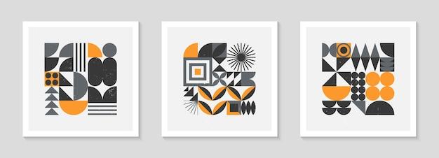 Set di sfondi di motivi geometrici bstract bauhaus. design geometrico minimalista alla moda con forme ed elementi semplici. illustrazioni vettoriali artistiche moderne della metà del secolo. ornamento scandinavo.