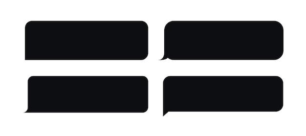 Set di messaggi a bolle modello stile nero per il fumetto di chat dell'applicazione di chat mobile del sito web