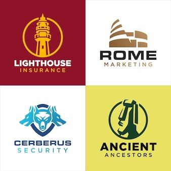 Set di loghi di edifici e animali