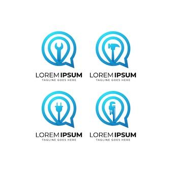 Set di design del logo per la costruzione di edifici