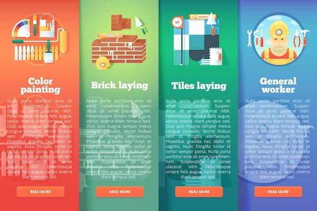Set di edilizia e costruzioni s. e concetti di layout verticale di ristrutturazione. stile moderno.