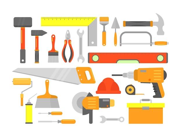 Set di strumenti per la costruzione di edifici isolati in stile cartone animato piatto.