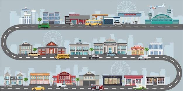 Insieme di edifici in stile design piatto di piccole imprese.