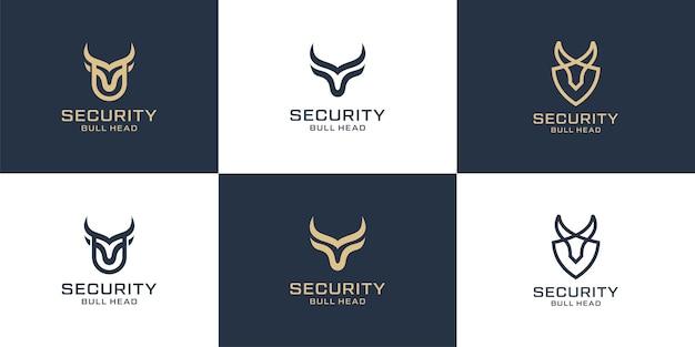 Set di linea di tori con logotipo a corno lungo per la collezione di design del logo sportivo