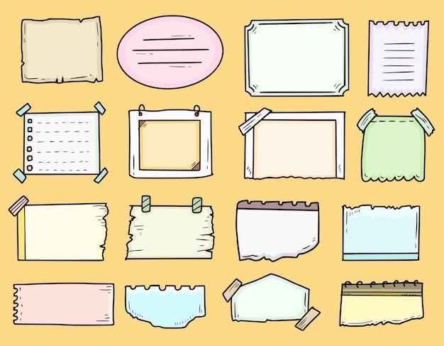 Impostare le note del fotogramma del diario di proiettile per fare la raccolta di doodle di disegni di elenchi