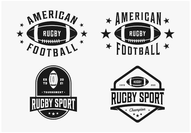 Imposta il design del logo del rugby di football americano in bundle