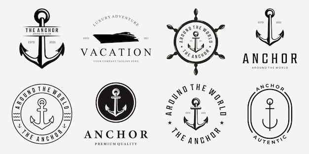 Set bundle di anchor ship yacht distintivo di lusso vector logo illustration vintage design of water
