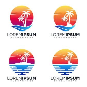 Imposta il design del logo della spiaggia del pacchetto