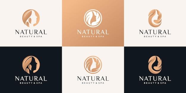 Set di bundle modello di progettazione del logo del fiore del viso della donna di bellezza con stile dorato