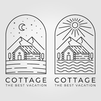 Set bundle of cabin cottage line art logo vector illustration design sun moon mountain