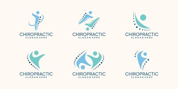 Imposta un pacchetto di design del logo chiropratico con un concetto creativo vettore premium