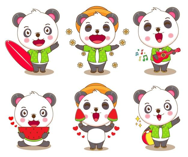Set pacchetto di simpatici orsi panda con attività estive