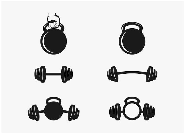 Set bundle palestra fitness vettore premium
