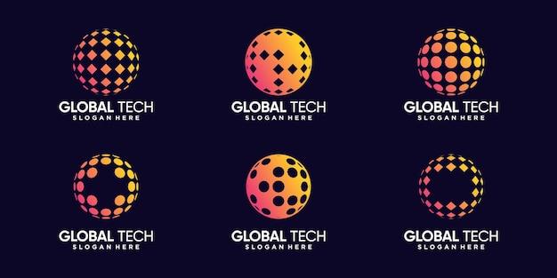 Imposta un pacchetto di modelli di design del logo tecnologico globale con un concetto creativo vettore premium