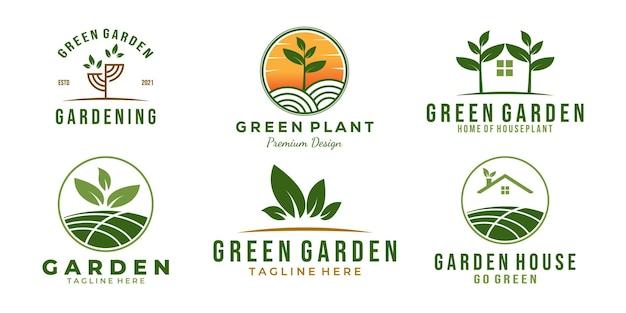 Impostare il disegno dell'illustrazione di vettore del modello di logo del giardino verde del pacchetto