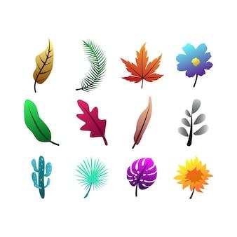 Imposta il colore sfumato di foglie e fiori del fascio
