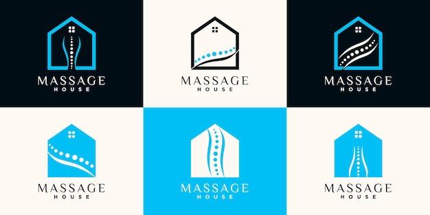 Imposta il pacchetto di design del logo della casa dei massaggi con la grafica al tratto e il concetto di spazio negativo vettore premium
