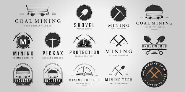 Set bundle mining vintage line art logo, illustrazione carrello da miniera piccone casco pala vector design