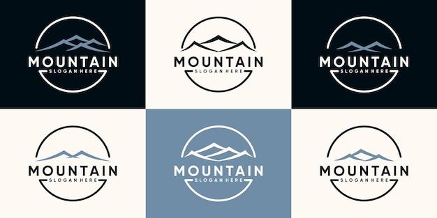 Imposta il pacchetto di design del logo di montagna con lo stile della linea artistica e il concetto di cerchio vettore premium