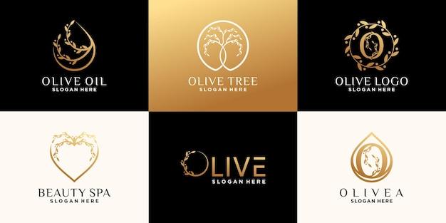 Imposta un pacchetto di modelli di design del logo oliva con un concetto unico e creativo vettore premium