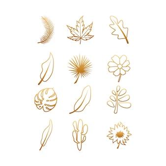 Imposta il colore sfumato delle foglie e dei fiori del contorno del fascio