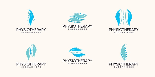 Imposta il pacchetto di design del logo di fisioterapia con il concetto di mano e osso vettore premium