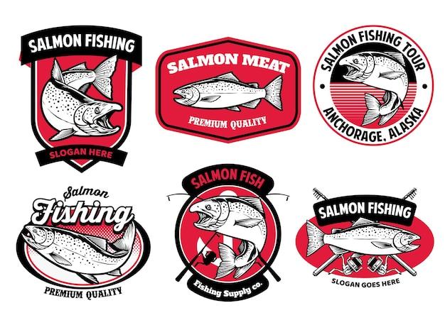 Set pacchetto di set di badge per la pesca al salmone