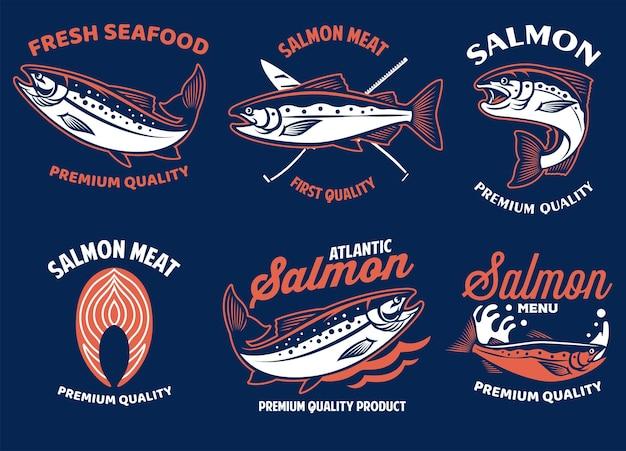 Set di fascio di badge di pesce salmone