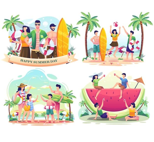 Imposta il pacchetto della giornata estiva con le persone che si godono l'estate sulla spiaggia illustrazione vettoriale
