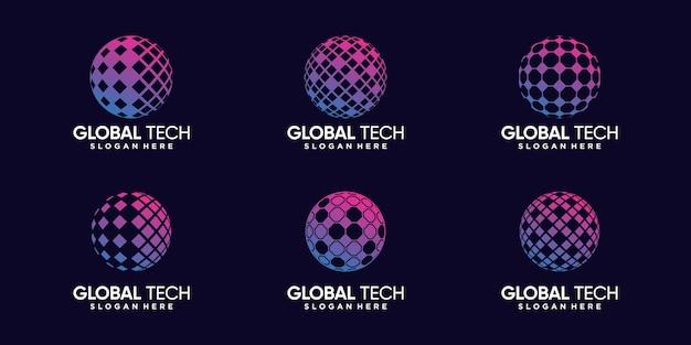 Imposta un pacchetto di ispirazione per il design del logo globale tecnologico con un concetto unico vettore premium